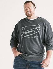 Buy Triumph Burnout Crew Shirt, Size XLT in Jet Black
