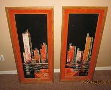Buy Lot of 2 Morris Katz Signed Original Oil Paintings (1963) Skyscraper