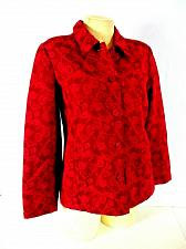 Buy Appleseed womens 8P L/S red faux SUEDE textured Floral stretch jacket (O)pm