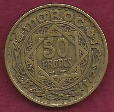 Buy MORROCO MAROC 50 Franc 1371 AH (1951 - 1952) Empire Cherifien Rare Coin!
