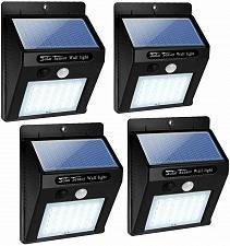 Buy 4 Pcs 30 LED Solar Lights Motion Sensor Solar Powered Wall Lights for Garden Pathway