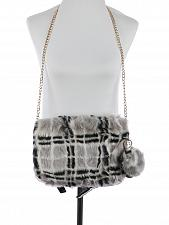 Buy GRAY/BLACK FAUX FUR CLUTCH BAG ACCESSORY