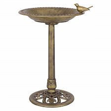 Buy Antique Gold Freestanding Pedestal Bird Bath Feeder
