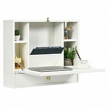 Buy Wall Mounted Folding Laptop Desk Hideaway Storage with Drawer