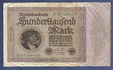 Buy GERMANY 100,000 Mark 1923 Banknote H-05266619 Pick 83a (H Series) Merchant Gisze
