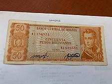 Buy Bolivia 50 pesos bolivianos circulated banknote 1962 #2