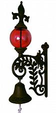 Buy Cast Iron Bell W RED Glass Gazing Ball