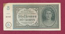 Buy BOHEMIA & MOROVIA 5 Kronen 1940 ND P4 Banknote Series B045 -Czechoslavakia/WWII Issue