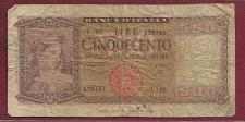 Buy ITALY 500 lire 1947 Banknote 035191 - Bank of Italy (WWII ERA Currency!) P-80