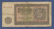 Buy EAST GERMANY 5 Mark 1948 Banknote AT 147553 (MeE10)