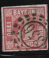 "Buy Bavaria 1862 Used Scott #10 2021SCV$4.00 11826 ""356"" Postmark"