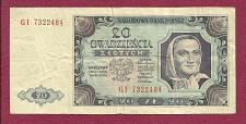 Buy POLAND 20 Zloty 1948 Banknote No. GI 7322484, Pick #137 Watermark,Woman w/Scarf,Eagle