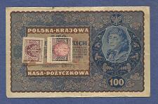 Buy POLAND 100 Marek 1919 Banknote No. IH SERJA W 943809, Pick 27 w/Stamps