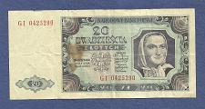 Buy POLAND 20 Zloty 1948 Banknote No. GI 0425290, Pick #137 Watermark,Woman w/Scarf,Eagle