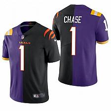 Buy Men's LSU Tigers Bengals JaMarr Chase Split Purple Black Jersey