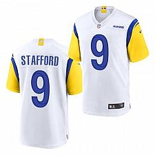 Buy Men's Los Angeles Rams #9 Matthew Stafford Jersey White 2021 Throwback Game