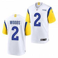 Buy Men's Los Angeles Rams #2 Robert Woods Jersey White 2021 Throwback Game