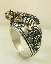 Buy Artisan Made 10k Gold Crouching Tiger Hidden Dragon sterling silver ring