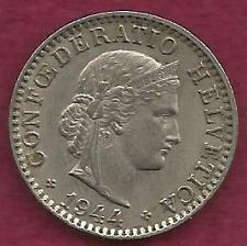 Buy Switzerland 20 Rappen 1944 Coin - WWII Currency - Libertas Goddess of Liberty Coin
