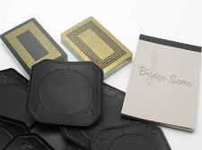 Buy Double Deck Bridge Playing Cards Coaster Scoring Pad Case Black Gold Greek Keys