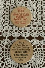 Buy 2 Advertising Wooden Nickels Neco Lanes Montpelier OH Osborn Sales Decatur IN