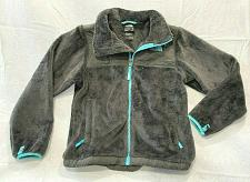 Buy The North Face Fur Jacket gray zip blue Girls Size M 10/12 Nwot