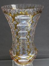 Buy Amber glass cut to clear vase
