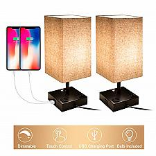 Buy Touch Control Dimmable Table Lamp with 2 USB Charging Ports and 2 AC Outlets, of