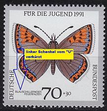 Buy GERMANY BUND [1991] MiNr 1515 F24 ( **/mnh ) Schmetterlinge Plattenfehler