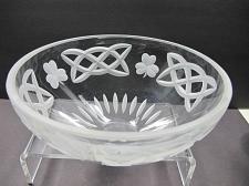 Buy Hand cut glass bowl Celtic Shamrock pattern