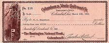 Buy March 10, 1922 Columbus & Xenia Railroad Co., Huntington National Dividend Check