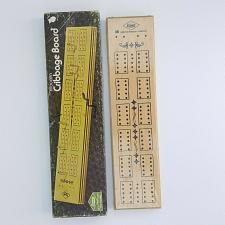 Buy 1974 Lowe Cribbage Board 1503 Wooden 2 Tracks With Pegs 11 1/8 Inches Sealed