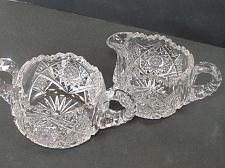 Buy Sugar and creamer American Brilliant Period Cut Glass Antique