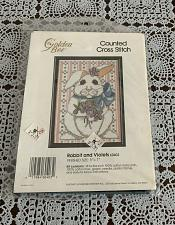 Buy Brand New Golden Bee Counted Cross Stitch Kit 60403 Rabbit and Violets 4 Charity