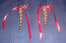 Buy Set of 2 Brand New Handmade Beaded Gold Red Icicle Ornaments For Dog Charity