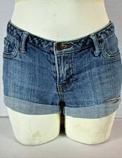 Buy FOREVER 21 womens Sz 27 W 30 blue denim CUFFED zip up stretch shorts (F)P