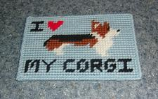 Buy Brand New Red White Black Corgi Love Needlepoint Sign For Dog Rescue Charity
