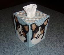 Buy Brand New Needlepoint Tri Corgi Tissue Box Cover For Dog Rescue Charity