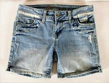 Buy DELIAS womens Sz 1/2 juniors W26 blue denim DISTRESSED stretch shorts (B7)P