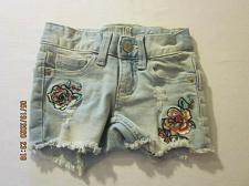 Buy Justice Girls Denim Shorts Size 6 Slim Blue Light Wash Roses Distressed