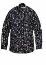 Buy California Print Button Down Men`s XL Navy/Natural White Label Fit NWT`s