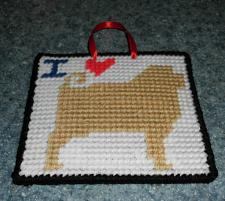 Buy Brand New Handmade Needlepoint I Love FAWN PUG Sign For Dog Rescue Charity