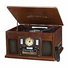 Buy Victrola Nostalgic Aviator Wood 8-in-1 Bluetooth Turntable Entertainment Center,