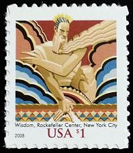 Buy 2008 $1 Wisdom, Rockefeller Center, New York City Scott 3766a Mint F/VF NH