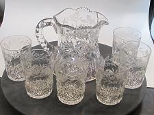 Buy Signed Sinclaire ABP 7 piece cut glass pitcher + glasses