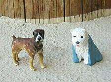Buy Lot 2 Safari Ltd Boxer and White Dog Plastic Toy Dog Figures