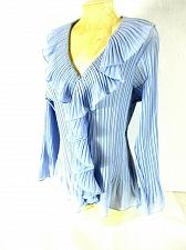 Buy Robbie Bee Women's 1X Blue - Gray Sheer Beads Pleated Ruffles Button Up Top (O)