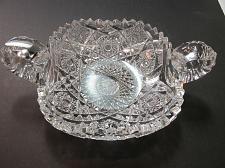 Buy American Brilliant Period hand Cut Glass 2 handled dish