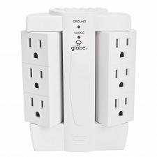 Buy Globe Electric 6-Outlet Space Saver Swivel Surge Protector Wall Adapter Tap,