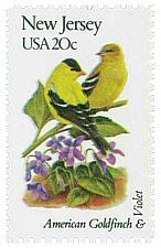 Buy 1982 20c State Birds & Flowers, New Jersey, Goldfinch, Violet Scott 1982 Mint NH